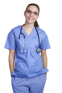 Beautiful young isolated smiling nurse